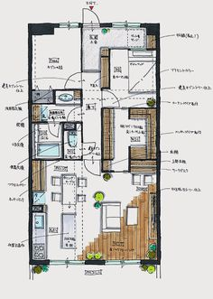 Give Your Rooms Some Spark With These Easy Design Tips – Decoration Inspired Interior Architecture Drawing, Interior Design Renderings, Interior Sketch, Architecture Design, Craftsman Floor Plans, House Floor Plans, Floor Plan Sketch, Architectural Floor Plans, Traditional Japanese House