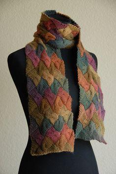 entrelac cable scarf