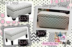 """Check Out This Chevron Print Ottoman """"Real Deal"""" vs. """"Bargain Steal"""" Found By Decor Facelift in New York City...One King's Lane/Target vs. Home Goods..."""