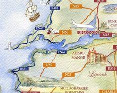 Custom bespoke maps by Appleberry Atelier Illustrated Maps, N21, Bespoke, Illustrators, Cool Designs, Etsy Seller, Creative, Atelier, Taylormade