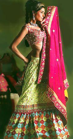 BW175 Hot Pink & Fern Green Lehenga Pakistani Traditional Lehenga Sharara Bridal Lehenga Pakistani Designer Lehenga Bridal Wear