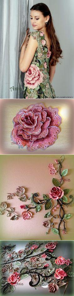 "сообщение VERA-L : Платье ""Эдем"" от Аси Вертен Wow! Crochet wall decor?! Never saw anything like this before! Interesting!"