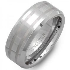 Share for $20 off your purchase of $100 or more! Tungsten Carbide Men's Ring Wedding Band 8MM Beveled Edges 2 Laser Engraved and Polished Shiny Comfort Fit (Available in Sizes 5 to 15) - Dazzling Rock #https://www.pinterest.com/dazzlingrock/