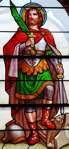 detail of a stained glass window of Saint Julian the Hospitaller; date and artist unknown; Saint-Julien, Puy-de-Dôme, France; photographed on 15 July 2007 by Romary; swiped from Wikimedia Commons; click for source image