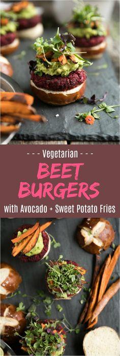 Vegetarian Beet Burgers with Avocado and Sweet Potato Fries