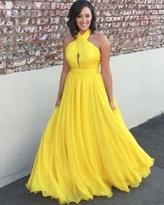Simple Long Yellow Chiffon Halter Pleated Prom Dress halter ruched simple yellow prom dress, long tulle formal dress for special occasion Grad Dresses Short, Semi Formal Dresses, Cheap Prom Dresses, Nice Dresses, Chiffon Evening Dresses, Latest African Fashion Dresses, Yellow Dress, Bright Dress, Ladies Dress Design