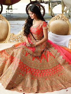 Orange Color Lehenga Choli worn by Shivangi Joshi.... #shivangijoshi #rajwadi #lehengacholi #weddingseason #weddingdress #embroidery #lehenga #ethnicwear #bridalwear #designerwear #onlineshopping
