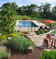 Landscaping Around Pool - Landscaping Ideas Around Pool Area - Landscaping Around Pool, Landscaping With Rocks, Backyard Landscaping, Landscaping Ideas, Pergola Ideas, Fence Around Pool, Outdoor Ideas, Pool Fence, Landscaping Software