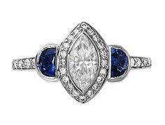 Marquise Cut Diamond Halo Cathedral Engagement Ring with Half Moon Blue Sapphires and Pave Set Round Diamonds