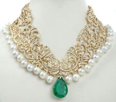 Jewels by Annu Chadha adorns the city of pearls Hyderabad nice shape Emerald Jewelry, Pearl Jewelry, Wedding Jewelry, Antique Jewelry, Gold Jewelry, Pearl Necklace, Pearl Choker, Diamond Jewellery, Silver Earrings
