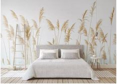 Fresh Handpainted Simple Reed Wallpaper, Autumn Yellow Reed Wall Mural, Living Room or Dinning Room Wallpaper Home Decor - falfestés Dinning Room Wallpaper, Wall Wallpaper, Wallpaper Wallpapers, Wallpaper Doodle, Camera Wallpaper, Vintage Wallpapers, Wallpaper Paste, Painting Wallpaper, Trendy Wallpaper