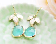 Matte Gold leaf and Sea Foam mint green Glass by earringsnation