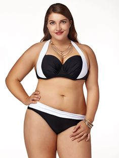 Attractive Plus Size Halter Color Block High-Waisted Bikini Set For Women