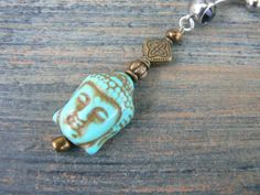 buddha belly ring BRASS buddah howlite turquoise  by gildedingypsy, $18.50