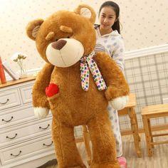 Kawaii Soft Eyebrow Animal Bear 160cm Big Size Plush Toys Love Bear Doll Teddy Bear Carf Bear For Children Birthday Gift Toys
