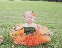 Ready To Ship in size 0-6 months and 6-12 months as a dress. All other sizes/styles are made to order.    The Little Pumpkin Orange Tutu or