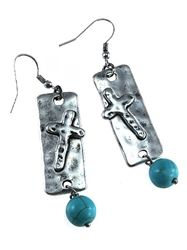Turquoise Bead Silver Cross Earrings