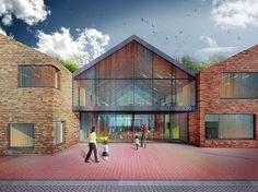 Image 3 of 4 from gallery of Onze Droomschool / Mecanoo Architecten. Courtesy of Mecanoo Architecten Glazed Walls, Main Entrance, Brickwork, School Architecture, Skylight, School Design, Design Projects, Netherlands, 1