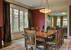 Photo of Beige Dining Room project in Seattle, WA by Colleen Knowles Interior Design Beige Dining Room, Modern Dining Room Tables, Elegant Dining Room, Dining Room Design, Houzz, Seattle Homes, Brown Curtains, Red Walls, Curtain Designs