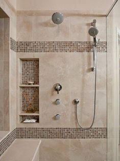Tiny house bathroom - Looking for small bathroom ideas? Take a look at our pick of the best small bathroom design ideas to inspire you before you start redecorating. Master Bathroom Shower, Small Bathroom With Shower, Shower Niche, Small Bathtub, Bathroom Showers, Shower With Bench, Bathroom Niche, Shower Walls, Narrow Bathroom