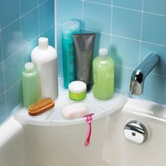 Mesa Corner Shelf By Umbra® At The Container Store. Perfect For Storing  Shampoo, Conditioner And Other Bath And Shower Items.