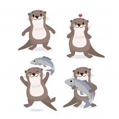 Cute otter and fish vector Premium Vecto...   Premium Vector #Freepik #vector #food Otter Cartoon, Otter Love, Cactus Planta, Fish Vector, Illustrations, Kawaii, Baby Halloween, Fun Prints, Otters