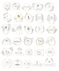 Premium Vector: Floral frame set for wedding - Landing page collections & free resources for designers Badge Design, Logo Design Template, Modern Business Cards, Business Card Design, Geometric Shapes Art, Banners, Photos Hd, Graphic Design Tools, Floral Logo