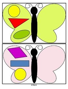 ***FREE***  This is a center, or a cut and paste activity, for early learners, focusing on shapes and the concept of symmetry. It has a butterflies, insects or spring theme, and is in both color and b/w. 8 pages.