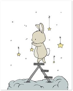 Bunny Hangs The Stars - Nursery Art Print. Bunny Nursery Art : Here at Sweet Melody Designs we love creating cute art for your little ones rooms. We believe in encouraging the imagination of children and giving them a beautiful place to grow up. It is our hope that our art can have a small part in that wonderful experience. This is a print of an original piece of art created by Sweet Melody Designs. It is a giclee print printed on high quality, archival paper with archival pigment inks…
