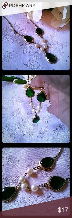 """Vintage Faux Pearl & Green Cabochon Necklace Gold tone metal. Measures approximately 17.5"""" from end to end. Green glass pear-shaped cabochons. Jewelry Necklaces"""