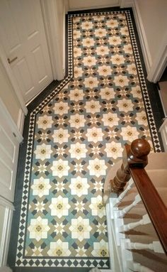Just laid + waiting to dry... Magnolia + Jasmine inspired encaustic tesselated tiles in a Victorian hallway.