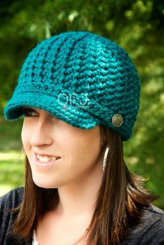 Women's Brimmed Beanie  Teal  Made to Order by OliJAccessories, $25.00
