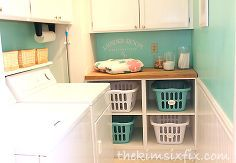 laundry room update with basket cubbies, diy, laundry rooms, painting, shelving ideas, storage ideas