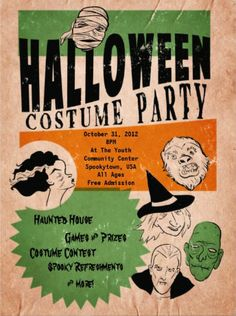 Halloween Costume Party Invitations. Vintage retro style. Nowadays I don't even have to dress up to look scary. #halloween_party_invitations