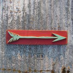 Turquoise Arrow Sign Wood Painting 3D Arrow by ArtfulHorizon