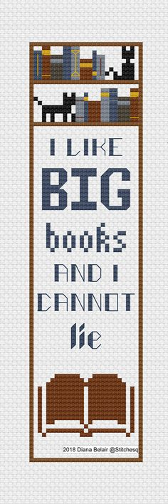 I Like Big Books Bookmark Cross Stitch Pattern PDF Instant