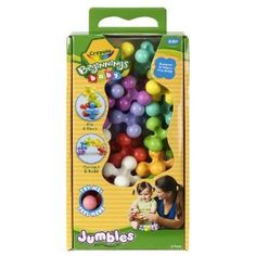 Crayola Beginnings Baby 20ct Jumbles- these make a great first building set for baby.  They are the perfect size for tiny hands and can be connected and stacked easily.  Both Rosie and Jewel still enjoy playing with them.  Once your child is a toddler, they can be used for color sorting, maths, in color themed sensory baths, and as part of a variety of other learning activities.