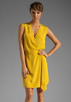 Tibi Solid Silk Wrap Dress in Mustard