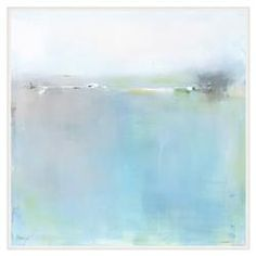 Blue Pastel Intermix Abstract Giclee Canvas - II   Kathy Kuo Home