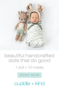 Every cuddle+kind doll is handcrafted with love and empowers women artisans with fair trade income. For every doll sold, we give 10 meals to children in need. 1 doll = 10 meals 💕