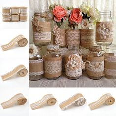 Vintage Burlap Ribbon Roll with Lace Trims