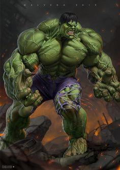 Hulk by Alex Malveda Rogue Comics, Marvel Comics Art, Marvel Comic Universe, Hulk Marvel, Ms Marvel Captain Marvel, Comics Universe, Marvel Memes, Hulk Tattoo, Hulk Artwork