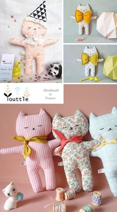 Cats Toys Ideas - Youttle - Ideal toys for small cats Youttle soft characters - handmade in France Designed and handmade in France by Youssra, these wonderful little characters are so adorable. Fabric doll, hand-made, hand made, DIY soft toys too cute ca Diy Cat Toys, Sewing For Kids, Baby Sewing, Free Sewing, Softies, Diy Jouet Pour Chat, Ideal Toys, Fabric Animals, Cat Doll