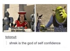 Shrek is love. Shrek is life. Stupid Funny Memes, Haha Funny, Funny Posts, Hilarious, Funny Stuff, Funny Things, Random Stuff, Shrek Memes, Dankest Memes
