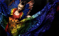 Alexander McQueen Rainbow Feather Dress