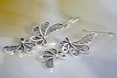 Silver filigree dangle earrings. $115.00, via Etsy.