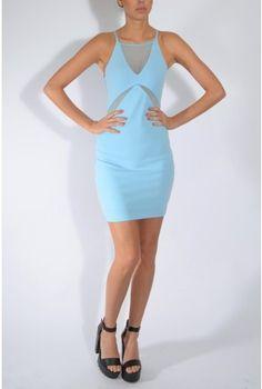 Blue Mesh Insert Mini Dress | Rare London