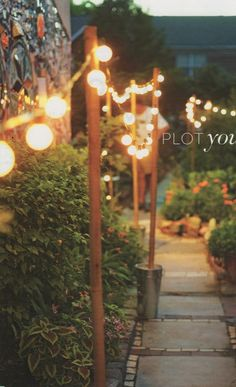 Use sand filled buckets and wooden posts to string lights around the backyard. Easy way to brighten your yard if you rent. Garden Cottage, Home And Garden, Summer Garden, Dog Garden, Garden Cafe, Night Garden, Beer Garden, Wooden Posts, Festa Party