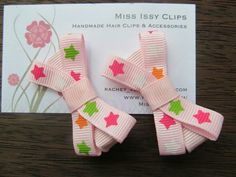 Pink with stars hair clips