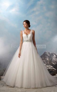 Custom Strapless Sweep Train Sleeveless Zipper Tulle Princess Wedding Dresses(FWD0716)